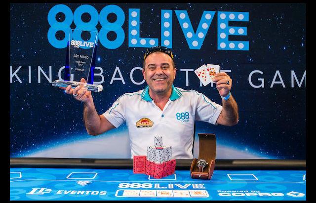 Haraldo Silva won just over ,000 and a WSOP Europe Main Event package for  taking down 888 Live Sao Paulo (888 photo/Joe Giron)