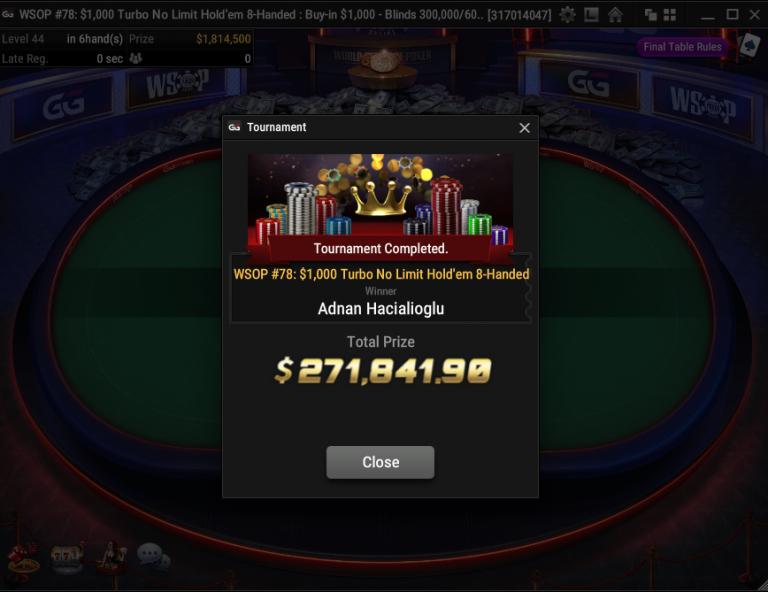 WSOP: Adnan Hacialioglu Dominates $1K Turbo Final Table