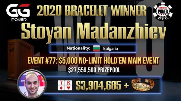 WSOP: Stoyan Madanzhiev Wins Main Event, $3.9 Million